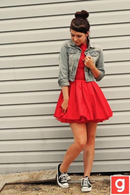 Pretty (and somewhat fancy!) dress paired with converse