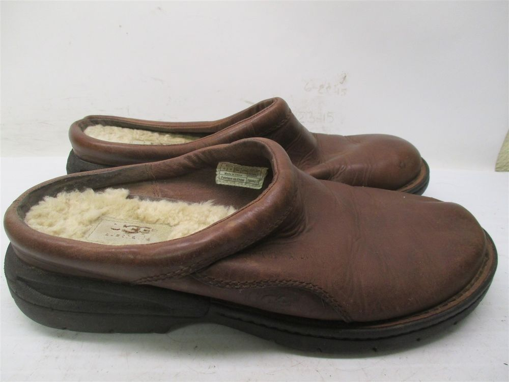 4ff87cf841e UGG AUSTRALIA Slippers Men's Size 9 SHEEPSKIN Brown Leather #B1767 ...