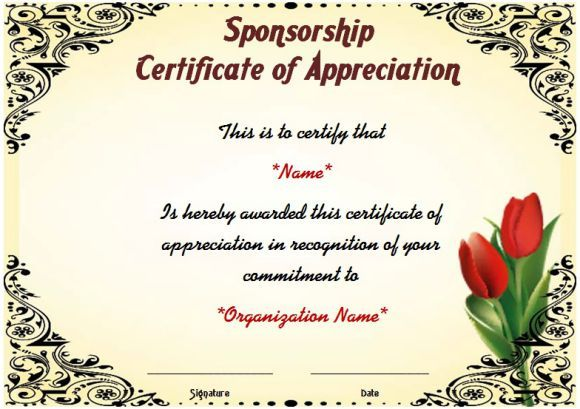 Certificate Of Appreciation For Sponsorship Thank You Certificates