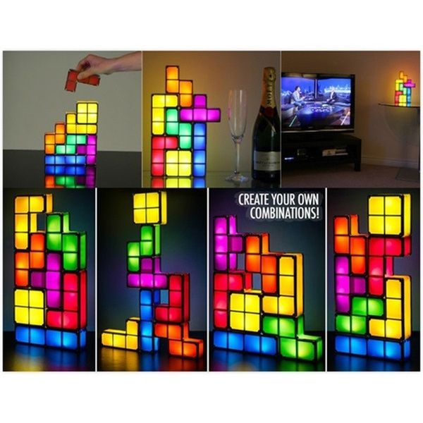 Creative Diy Tetris Puzzle Light Stackable Led Desk Lamp Block Led Night Light Toy Retro Game Color Multicolor In 2020
