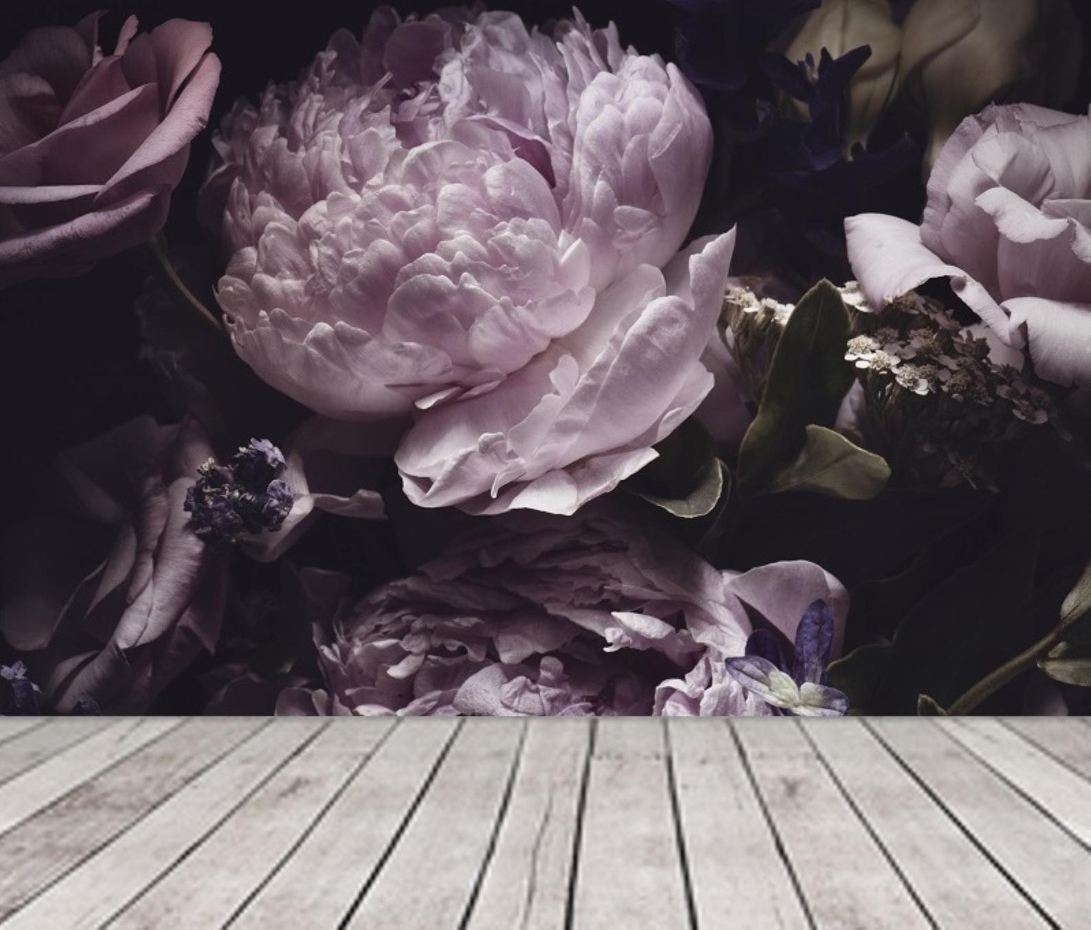 Bright Purple Peonies Wallpaper Mural, Dark Floral