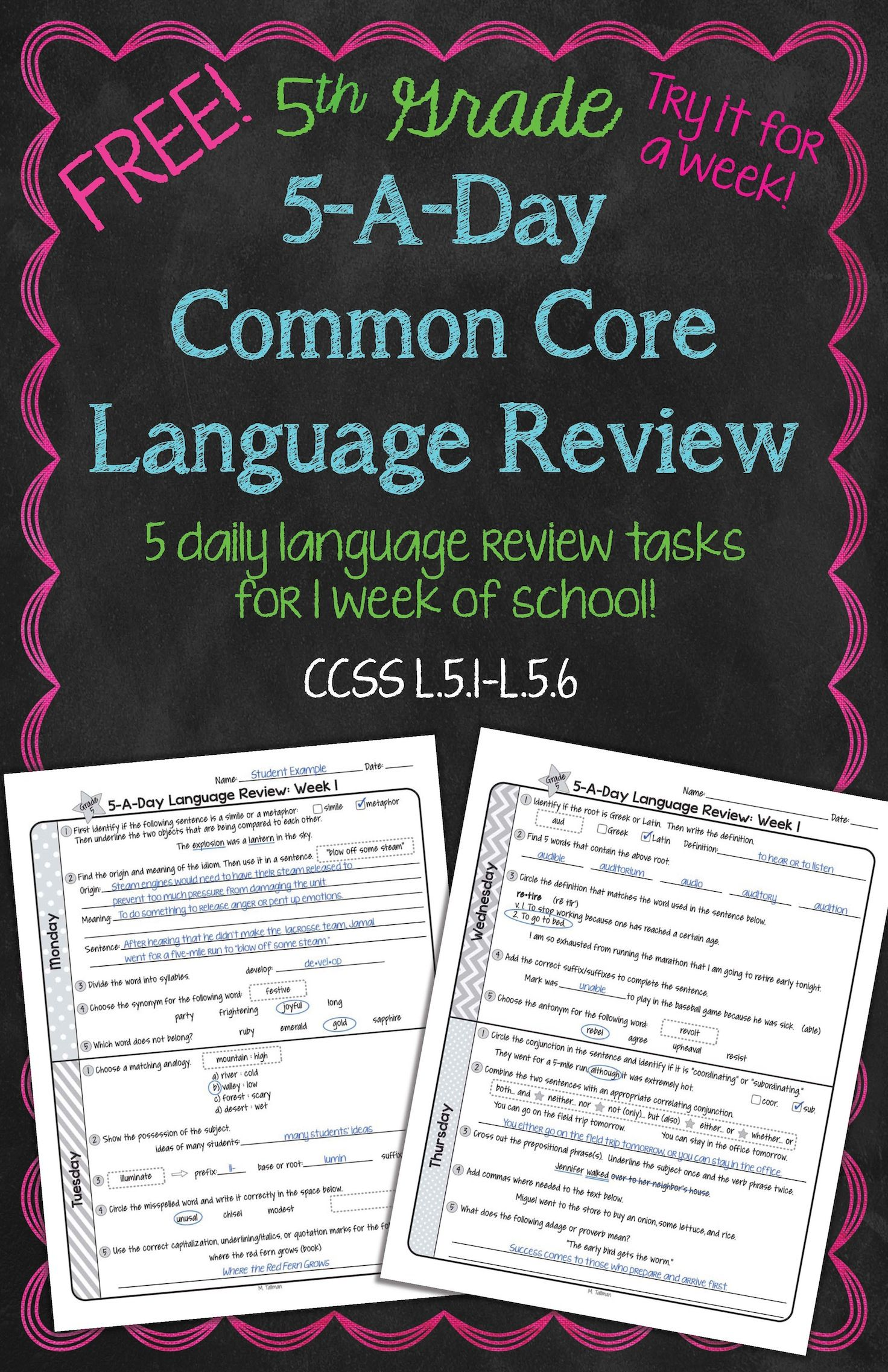 Daily Common Core Language Review For 5th Grade Try It Out A Full Week Also Available 4th 6th And 7th Grades