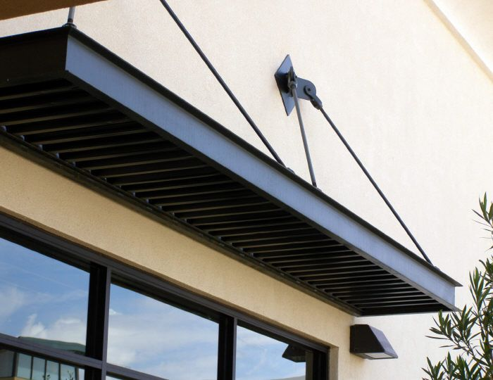Flat Panel Awning : Small flat window awning with overhead support sts
