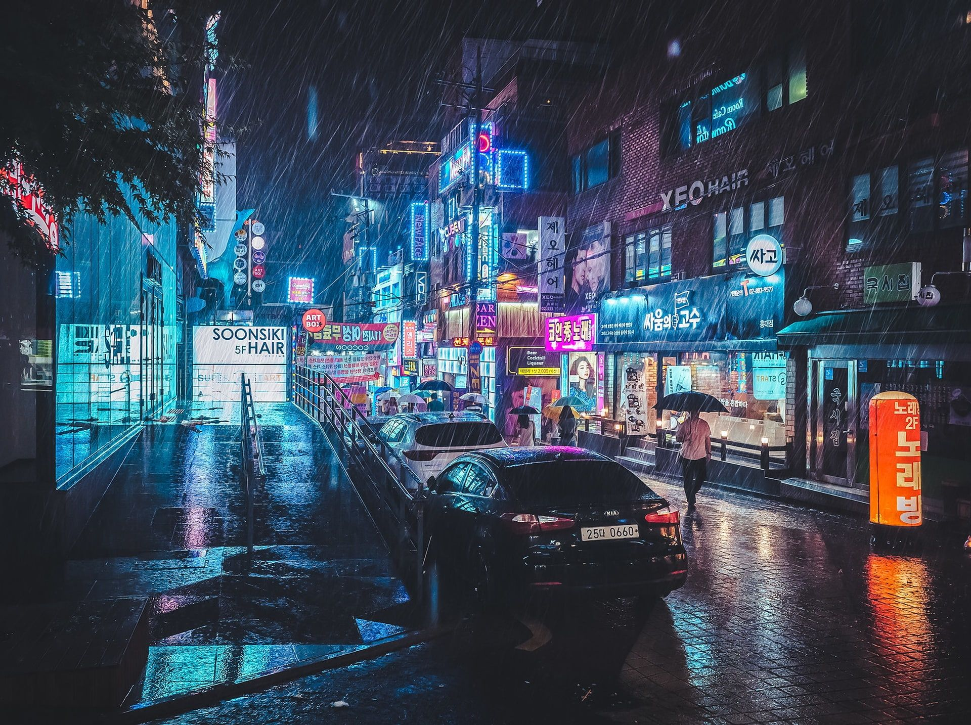 South Korea Rain Neon Photography Car Cityscape City Lights City Road Urban Umbrella 1080p Wallpaper Hdwallpape In 2020 City Aesthetic Night City Cityscape