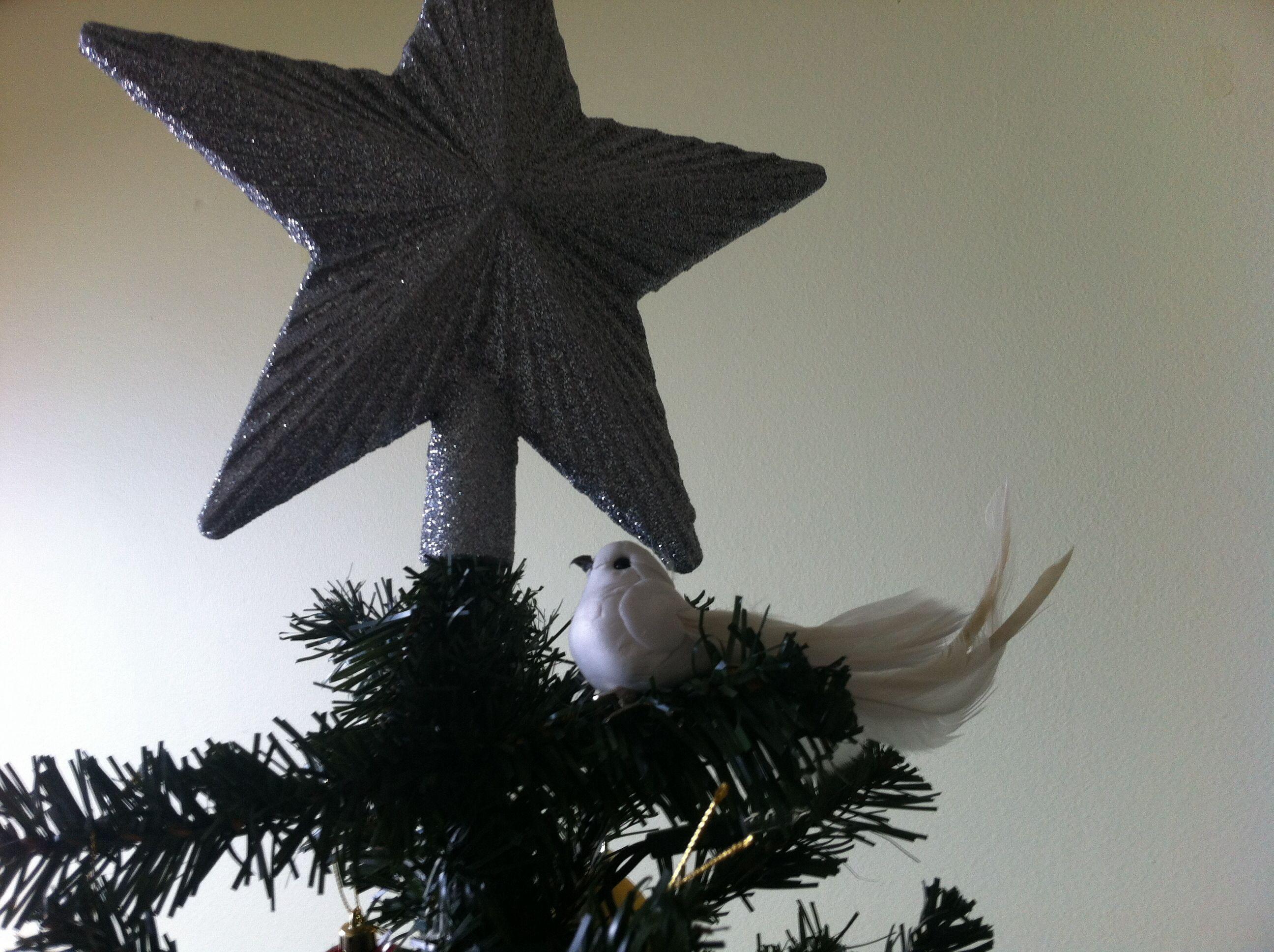 White bird in the christmas tree