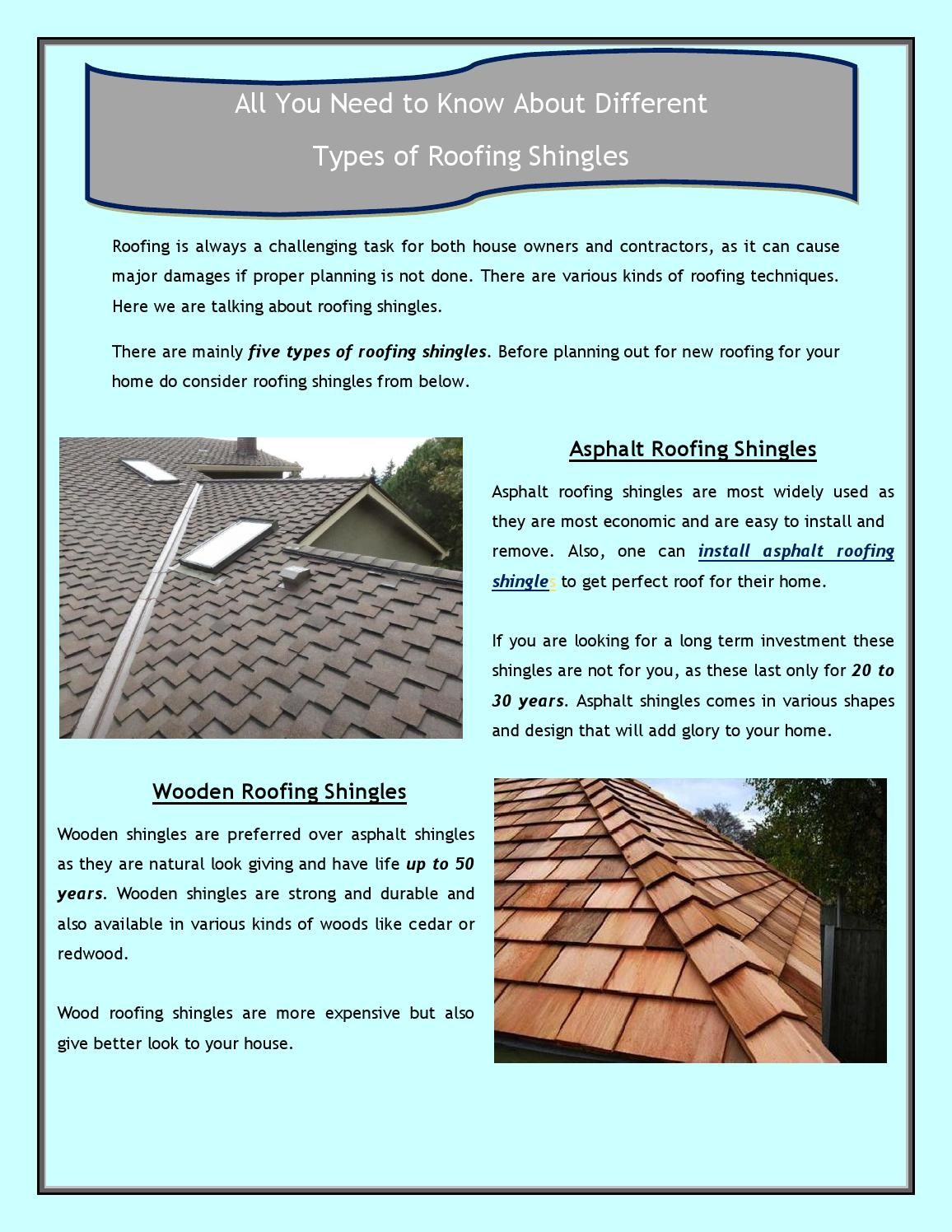 All You Need To Know About Different Types Of Roofing Shingles