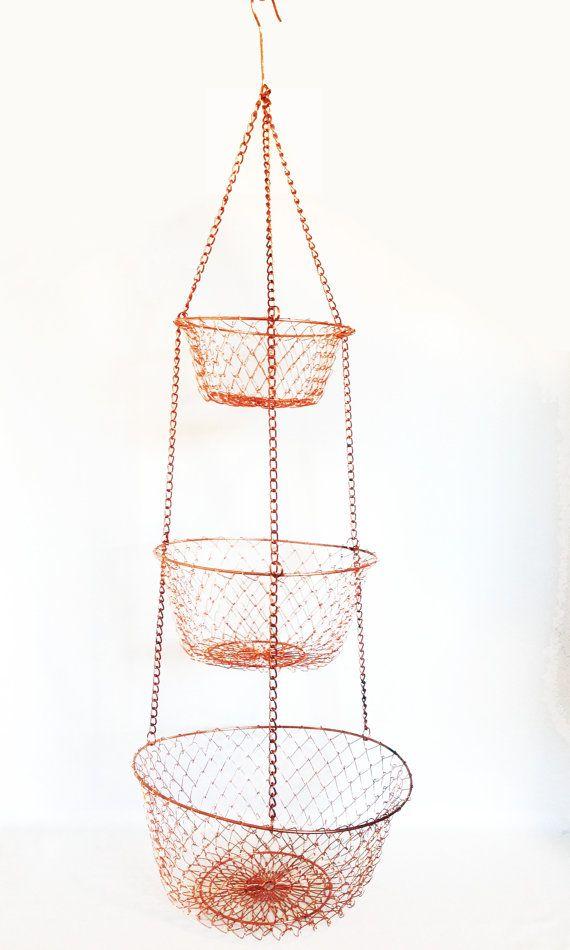 3 Tiered Metal Wire Hanging Basket Copper Metal By Harpersflea Vintage Metal Baskets Kitchen Decor Kitchen Pantry Storage Copper Kitchen Pantry Storage