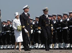May 5, 2004  Frederik and Mary attended a formal salute to the Danish military at a military parade in Copenhagen. They watched the salutes from the royal yacht Dannebrog. Mary's siblings attended the event. Afterwards the couple received more wedding gifts at Amalienborg.