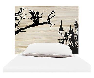 Testiera letto in legno Fantasy naturale e nero, 105x80x3 cm