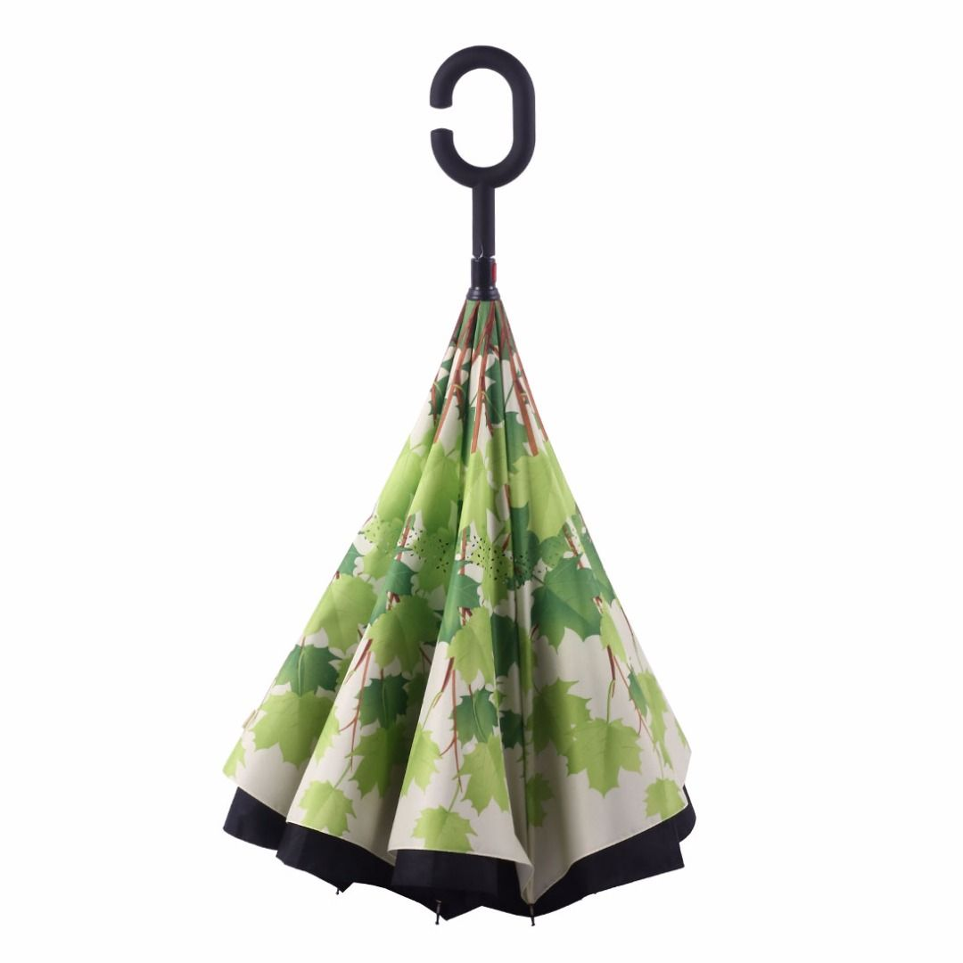 Summer Maple Leaf Printed Double Layer C-handle Hands-Free