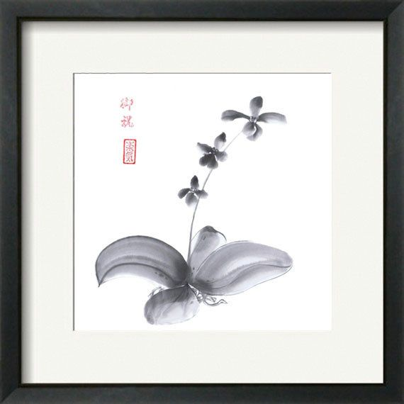 """Original Japanese Art painting """"Orchid""""  - sumi-e drawing with wash ink  - Wall decor from AnimaAllegra - bamboo brash on rice paper. , via Etsy."""
