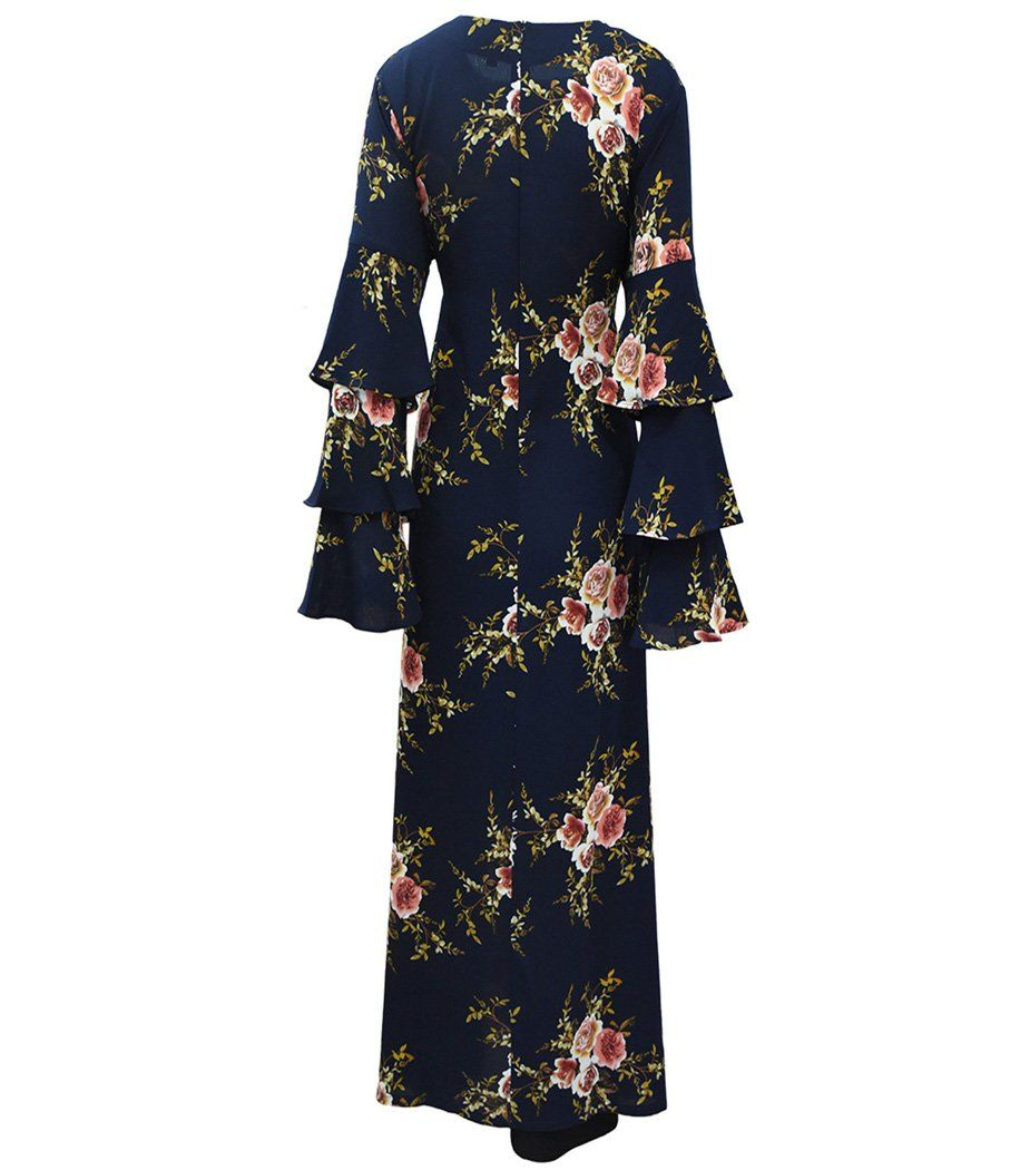 Qyqs womens plus size flower print trumpet long sleeves maxi dress