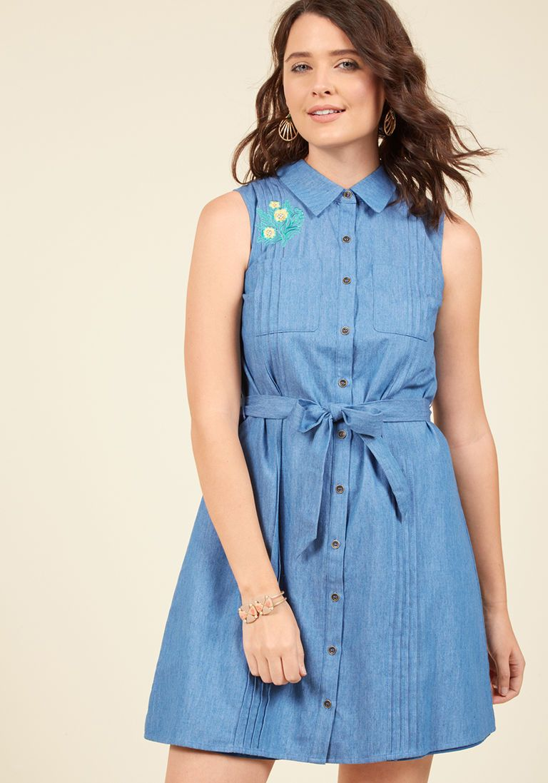 3f36aecf10e Shared Vision Shirt Dress in M - Sleeveless Knee Length by ModCloth