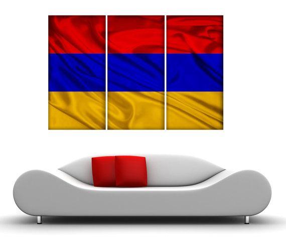 3 Panel Split Armenian Flag Canvas Print, 1.5\