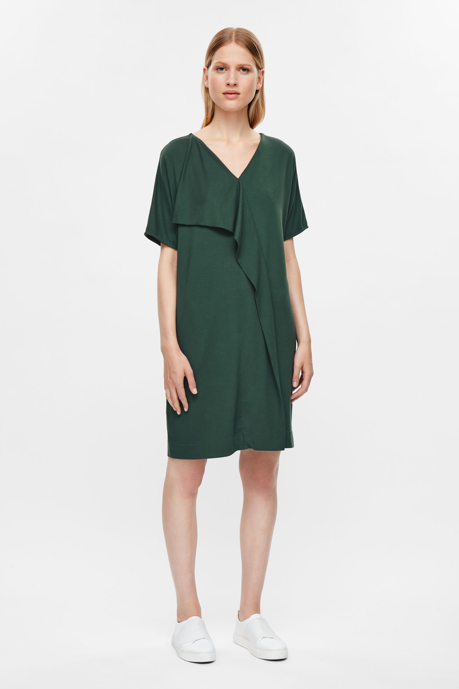COS image 1 of Dress with asymmetric drape in Forest Green