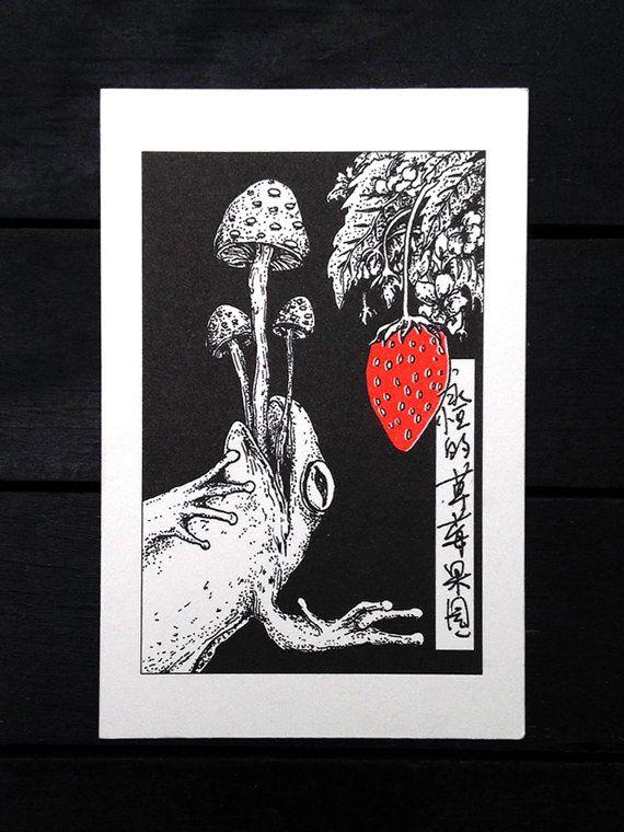 Risograph+Art+Print:+Strawberry+Fields+Forever+by+ZigguratAndMoon