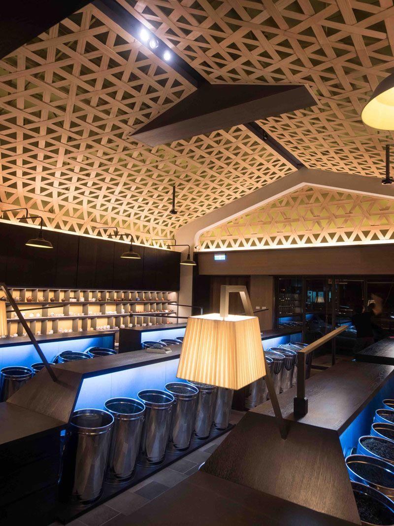 Ceiling Design Idea - A Woven Wood Drop Ceiling Creates A Dramatic ...