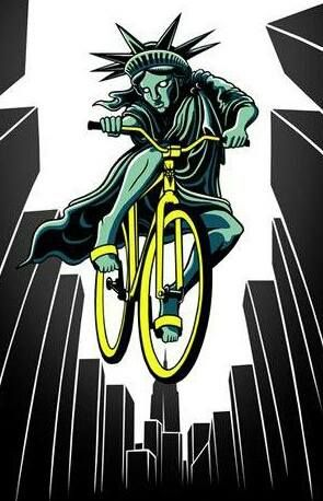 Defying gravity miss Liberty, hi up on a bike.