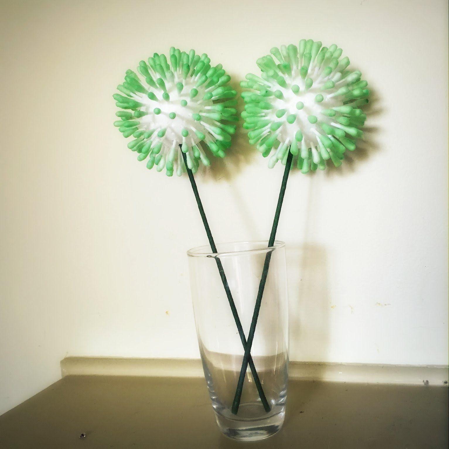 DIY Home decor:Easy q-tip /cotton bud /Cotton swabs flower/ school craft  project