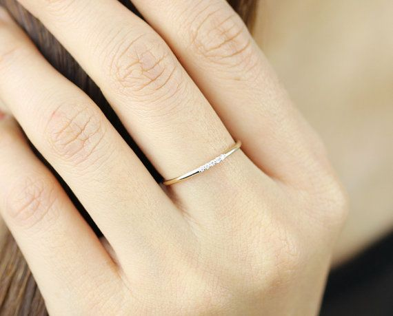 14k Yellow Solid Gold Diamonds Wedding Band In Pave Set Diamond Thin Ring Half Eternity Simple