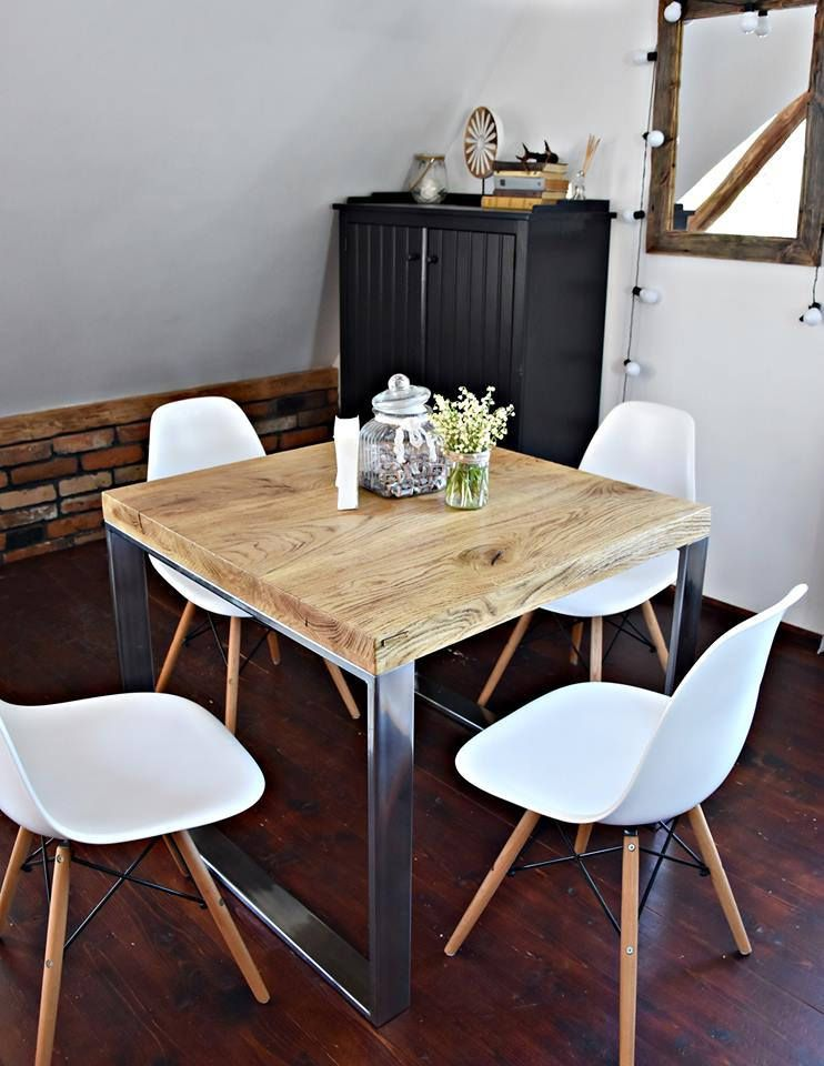Hand Crafted 4 Seater Farmhouse Style Modern Oak Wood Silver Etsy Dining Table Rustic Steel Dining Table Kitchen Table Oak