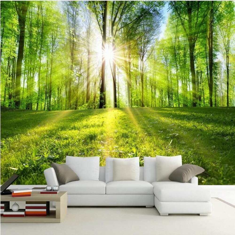 3d Sunshine Forest Nature Landscape Wallpaper Murales P