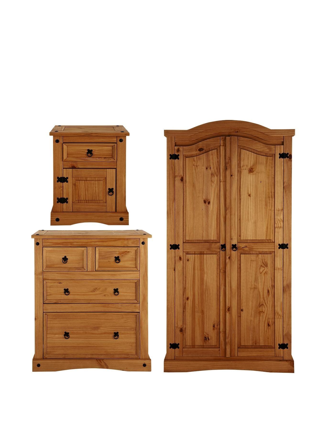 Corona 3-Piece Bedroom Furniture Set - Wardrobe, 2 + 2 Drawer ...