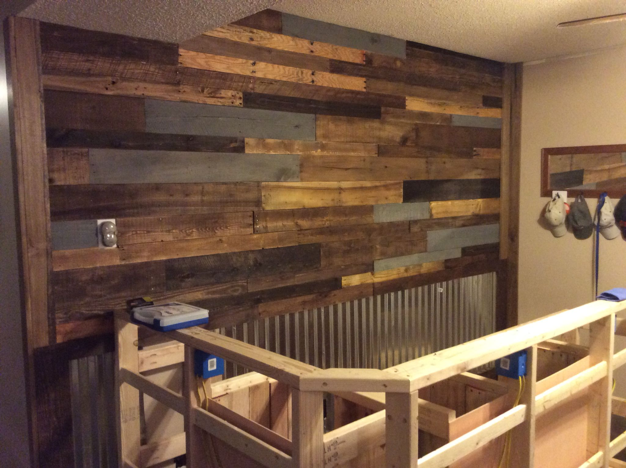The Pallet Wall Behind The Bar Is Done One Step Closer