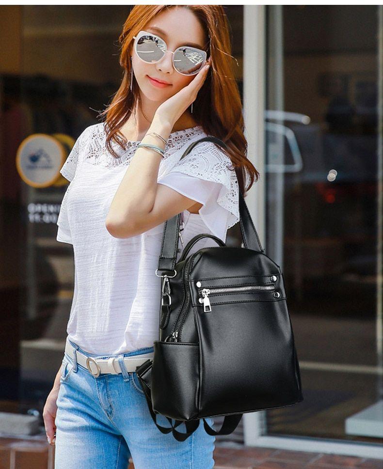 Photo of Soft Leather Backpack Women Multi-Function Shoulder Bag Teenage Girls School Bags Female Large Solid Travel Backpacks XA77H