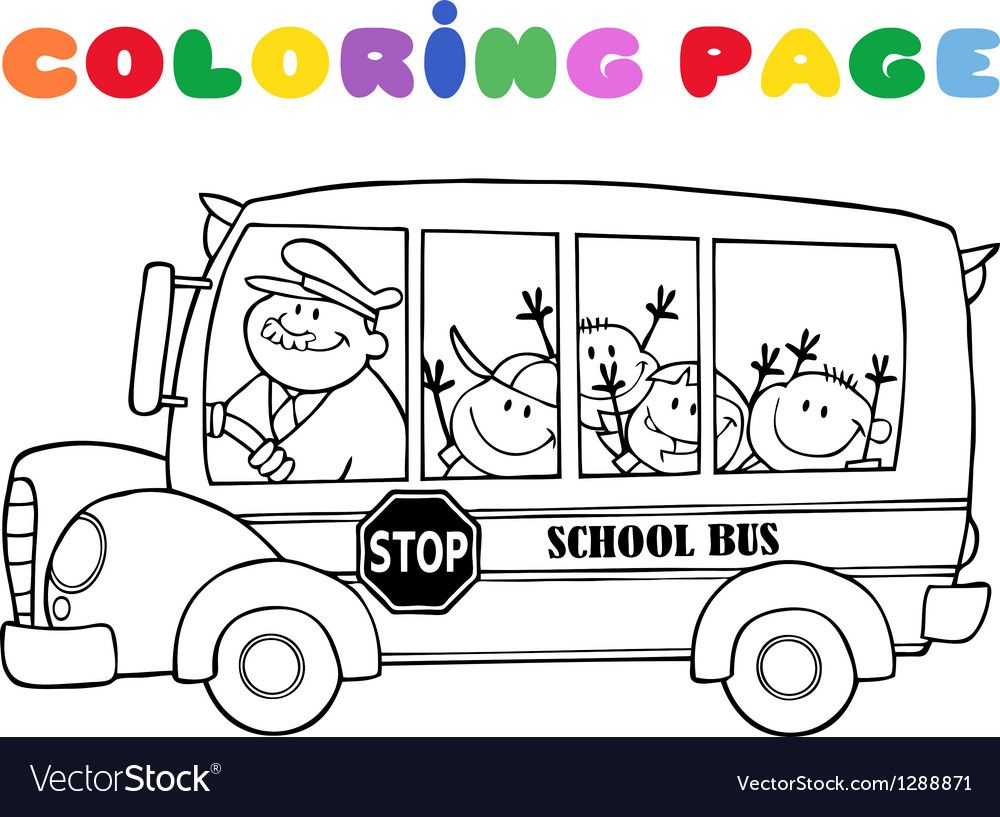 Colornig Page School Bus With Happy Children Download A Free
