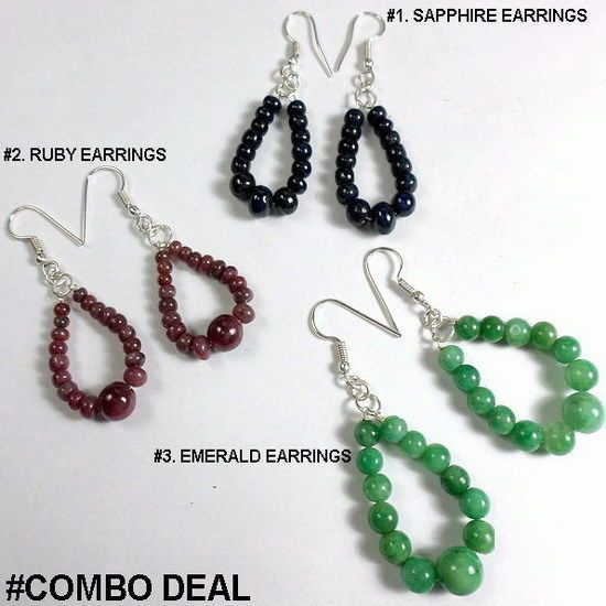 Combo Deal ! Fine Quality Natural Sapphire Ruby Emerald Earrings Limited Edition #GemsIndiaTopRatedPowerSeller5RatingeBay #Beaded