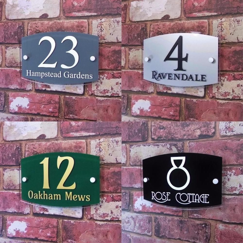 House Name Plaque Number Sign Street Address Plates Modern Glass
