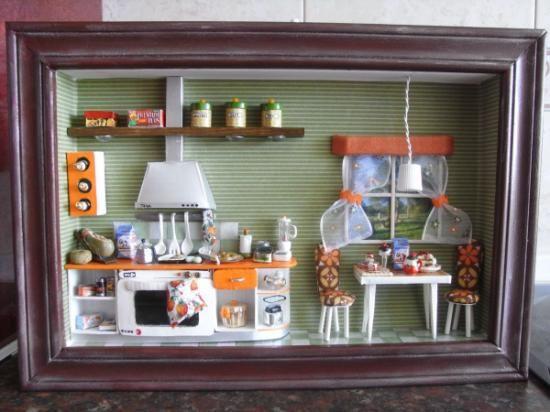 Cuadro excena en miniatura madera lata p.modelar,porcelanas ...