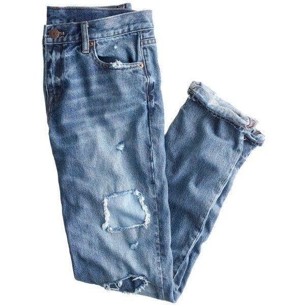 J.Crew Broken-In Boyfriend Jean ($79) ❤ liked on Polyvore featuring jeans, pants, bottoms, pantalones, ripped blue jeans, rolled up jeans, boyfriend fit jeans, j crew jeans and relaxed boyfriend jeans