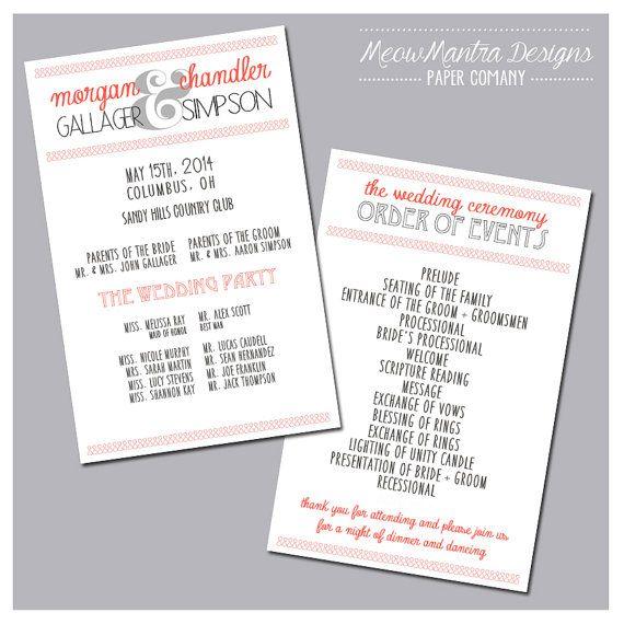 Wedding Program {Coral & Grey} - Customizable (colors, etc.)