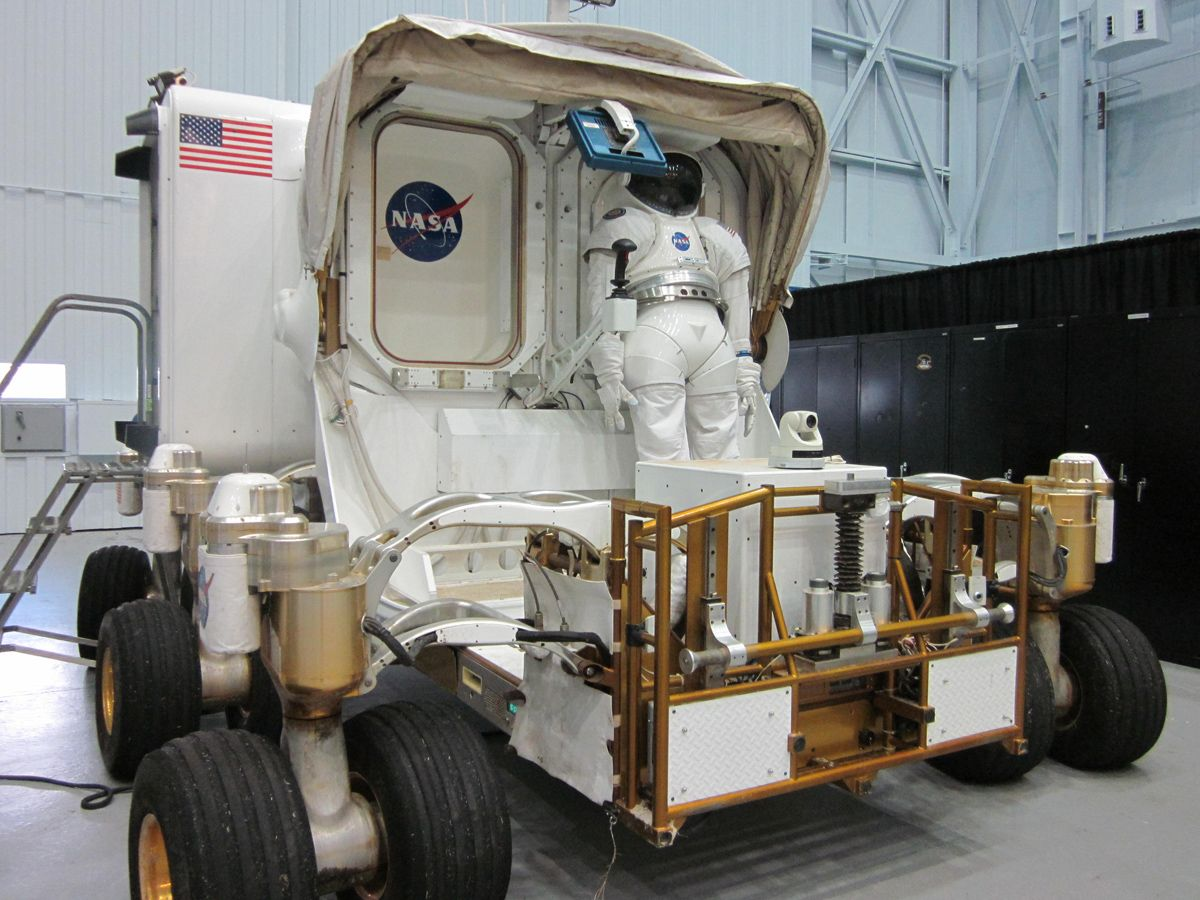 A mockup of NASA's next generation moon rover, the Space Exploration Vehicle (SEV), on display at the agency's Johnson Space Center in Houston. The SEV has since been converted into a wheel-less vehicle designed for visiting asteroids.  CREDIT: Clara Moskowitz/SPACE.com
