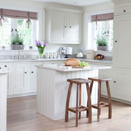 Simple Country Style Kitchens Shaker Style Breakfast Bar Small