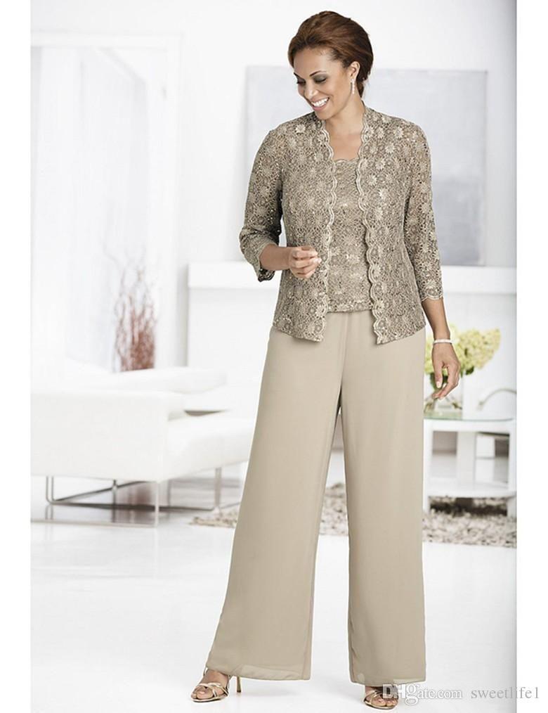 Grey wedding guest dress  Elegant Lace Top Mother of Bride Pant Suit Long Sleeves  Plus