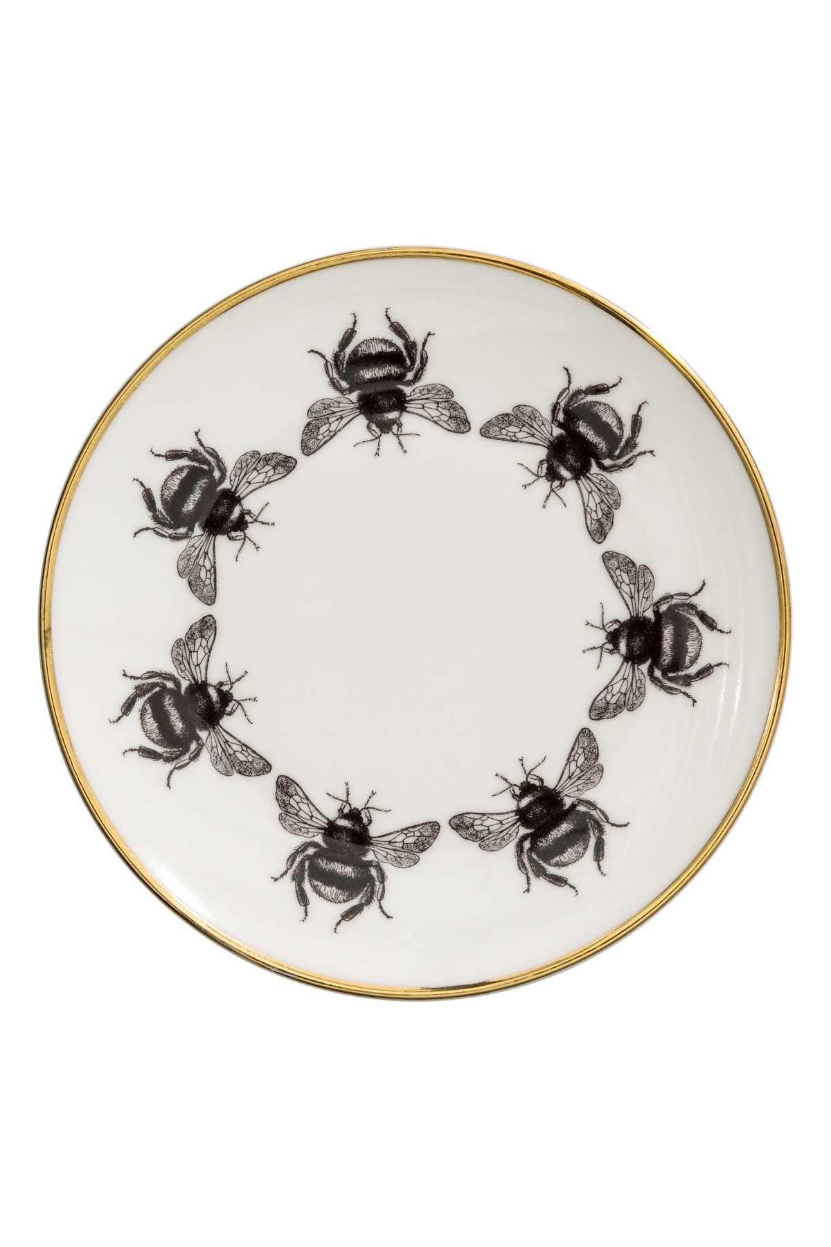 Weiss Bienen Kleiner Teller Aus Bedrucktem Porzellan Mit