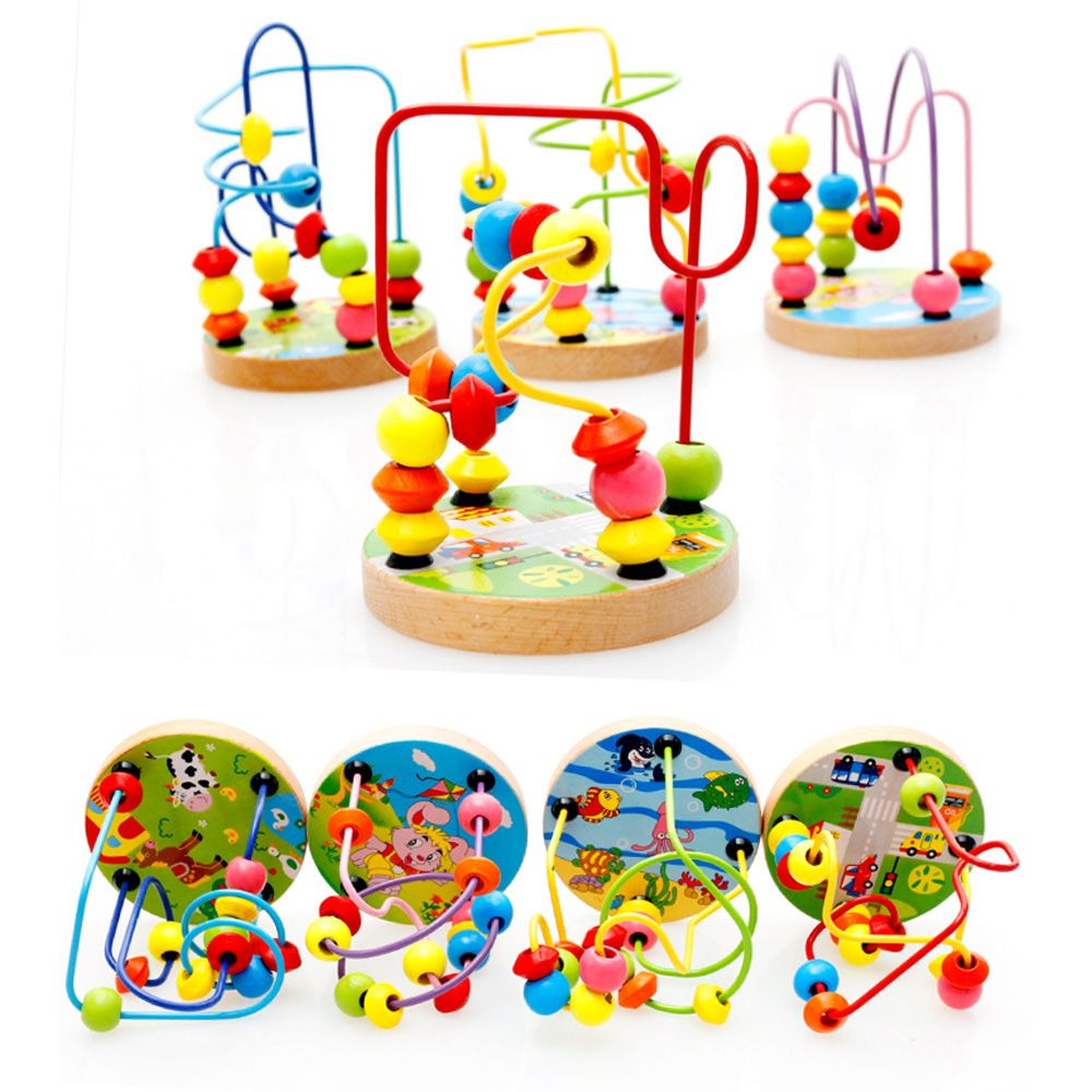 Baby Wooden Toy Around the Beads Wire Maze  Educational Game LIN