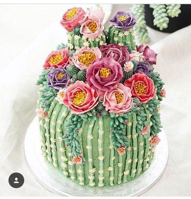 Kaktus Torte #cactuswithflowers