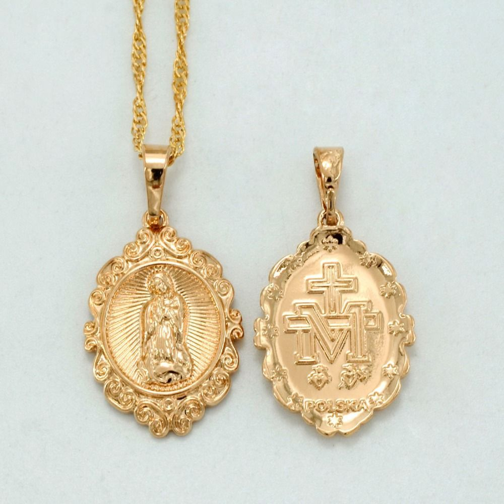 Small virgin mary necklaces for womengirlgold plated charm our