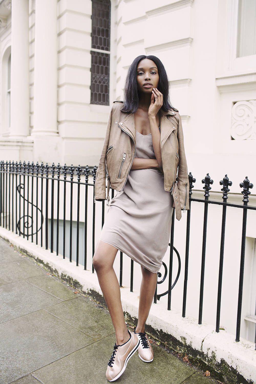 new styles 4d743 bba23 Bisous Natasha - Nude Satin Nike Cortez + Leather Jacket