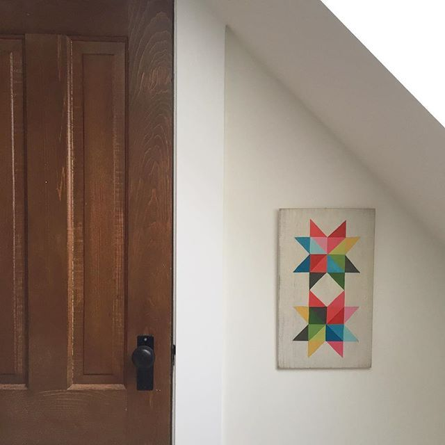 Some of my Eight Point Star work from 2012 // hanging next to my closet door