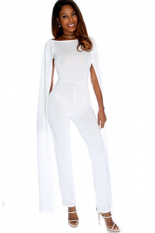02d7302c1a7 Sexy White Open Sleeve Sheer Casual Jumpsuit