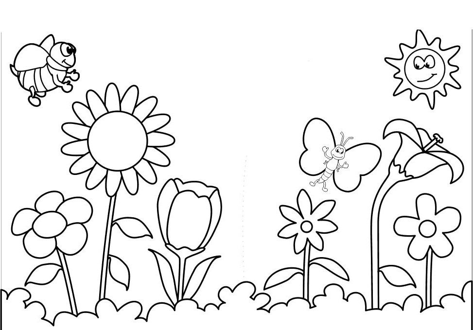 Spring Flowers Colouring Pages Printout Summer Coloring Pages