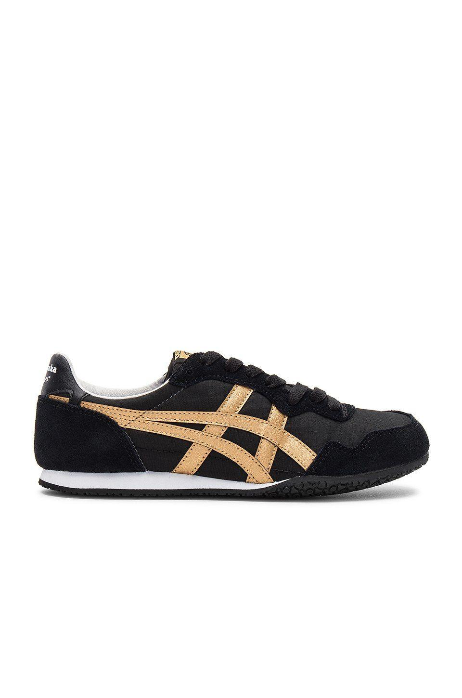 big sale 7f08f e1013 Onitsuka Tiger Serrano Sneaker in Black   Gold   REVOLVE
