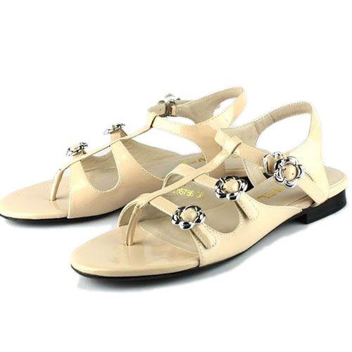 chanel apricot patent leather flat sandal CS2101