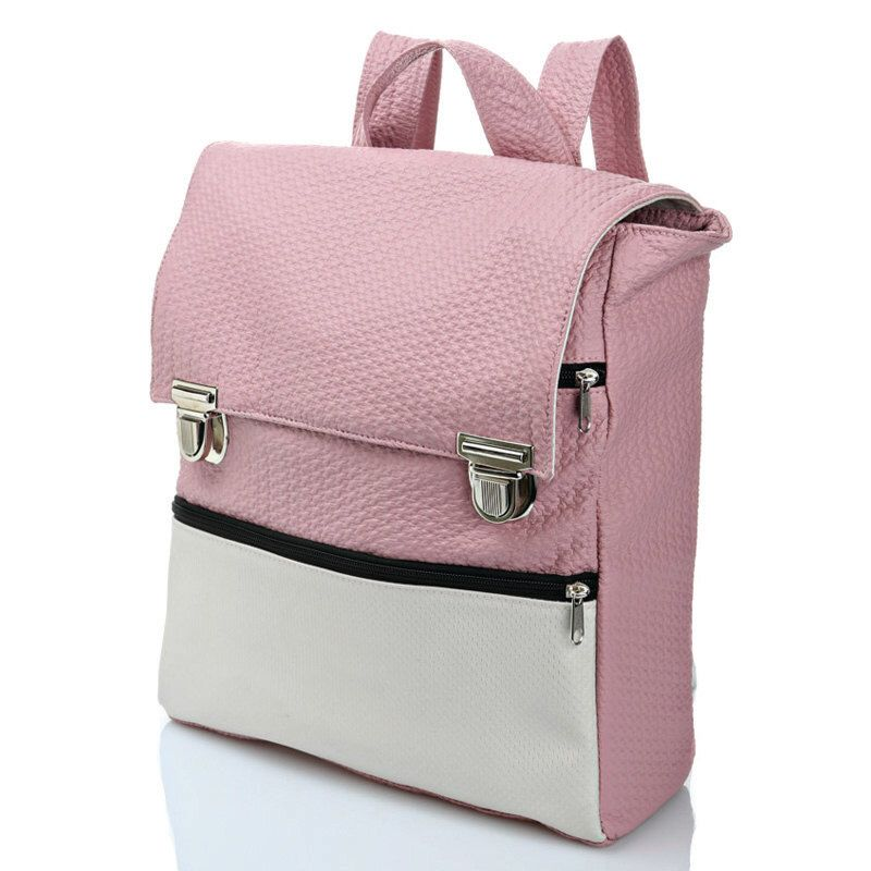 Pink College Bag, Student Backpack, Laptop Backpack, Vegan Faux Leather Backpack, Women Retro Stylish Bag, Trendy School Backpack, Rucksack by ClementinaBags on Etsy https://www.etsy.com/listing/204661853/pink-college-bag-student-backpack-laptop