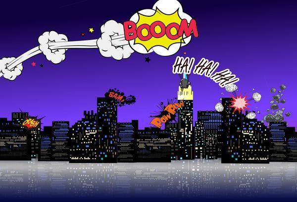 kate urban chaos night cartoon backdrop europe 5x7ft 1 5x2 2m